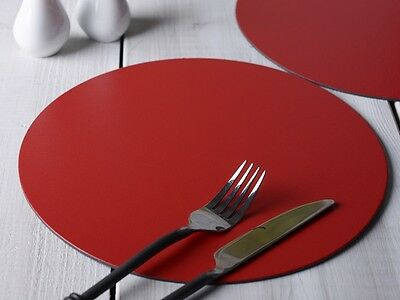 Set of 6 RED ROUND PLACEMATS Leatherboard Tablemats