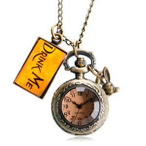 Bronze-Drink-Me-Tag-Alice-in-Wonderland-Rabbit-Quartz-Pocket-Watch-Necklace-Gift