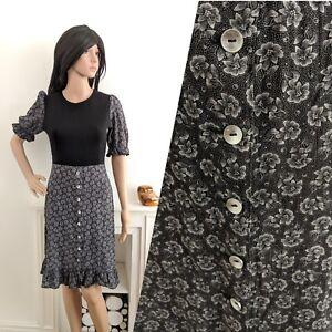 Vintage-70s-Cotton-Black-Floral-Button-Peasant-Boho-Dress-S-8-36