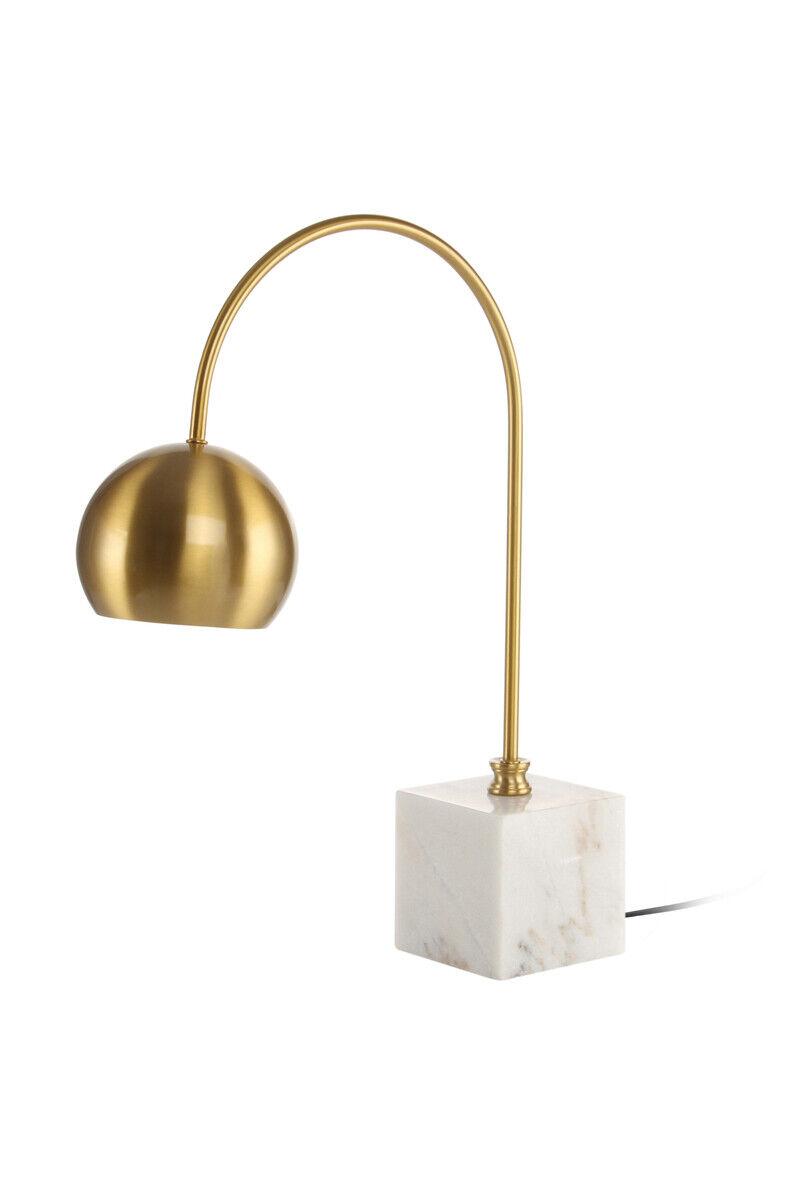 Tischleuchte Retro Vintage Leuchte Lampe Tischlampe Gold Marmor Block Creme