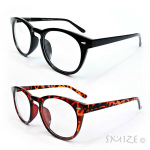Clear Lens Glasses Large Round Frame Nerd Geek Retro ...