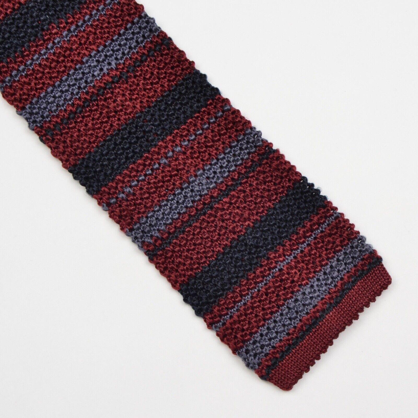 100% Seide Gestrickte Krawatte Knit Tie Silk Streifen Stripes Burgunderrot Blau