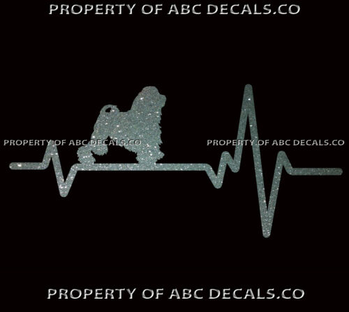 HEART BEAT LINE DOG LOWCHEN Little Lion Toy Love Adoption Rescue CAR METAL DECAL