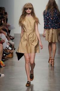 New-KAREN-WALKER-Atomic-Mustard-White-Polka-Dot-Tafetta-Back-Bow-Dress-UK12-575