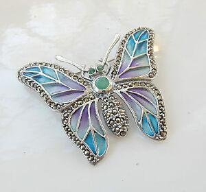 Art Nouveau Solid Silver Marcasite & Plique Du Jour Enamel Butterfly Brooch