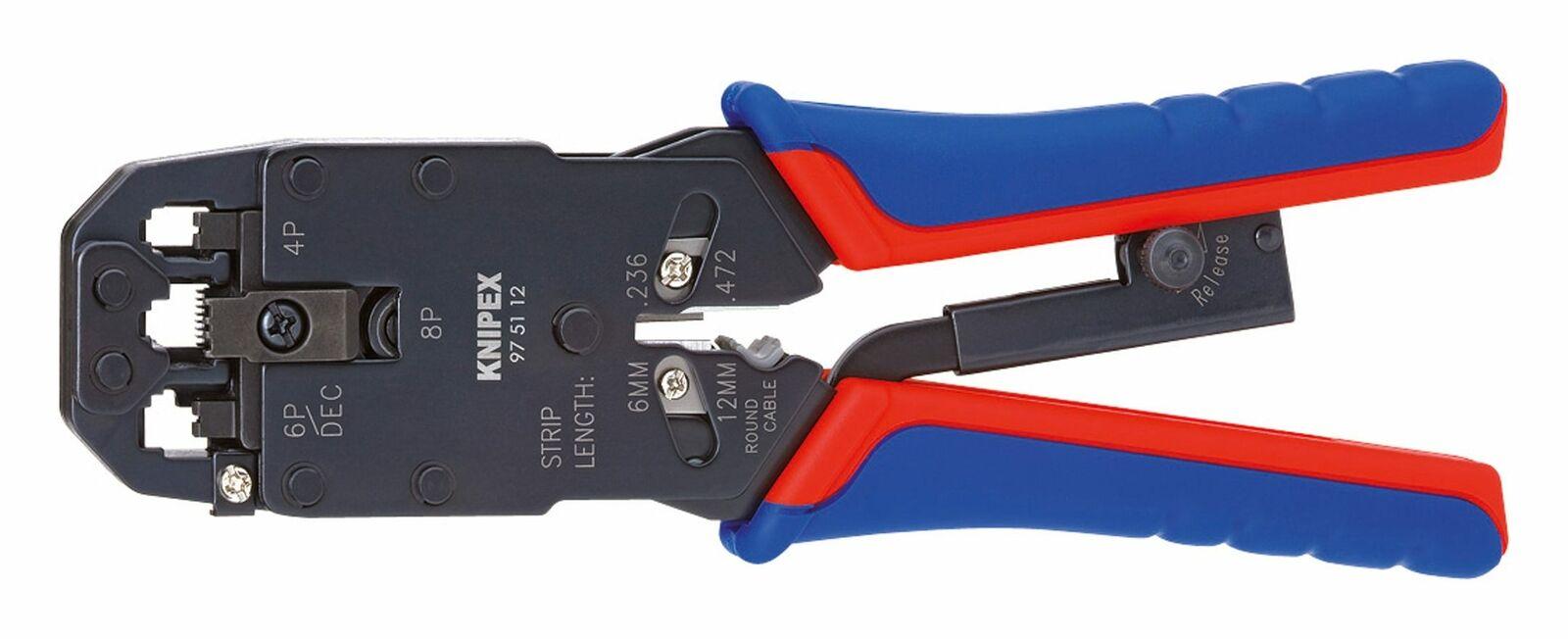 Knipex Crimp-Hebelzange 4 6 8-polig Western - 97 51 12