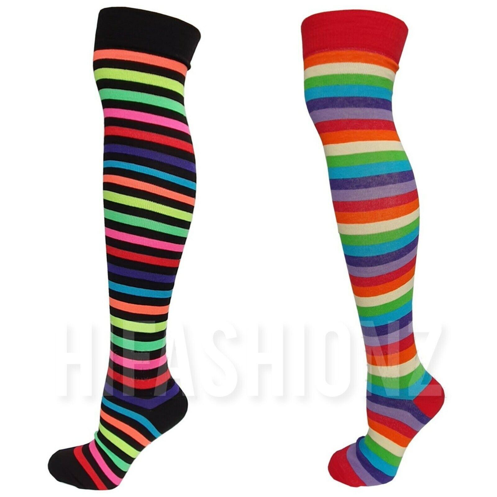 Damen NEON Streifen Overknee Socken Regenbogen Clown Gothic Kostüm Party