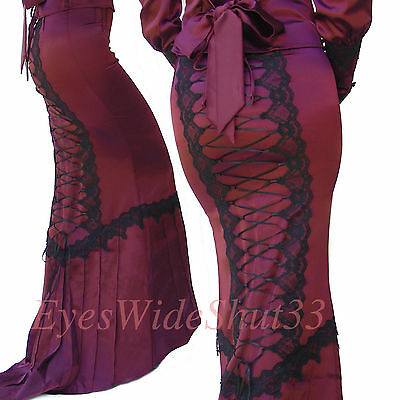Long Skirt Victorian Gothic Satin Burgundy Lace Up Back Tail Lip Service M