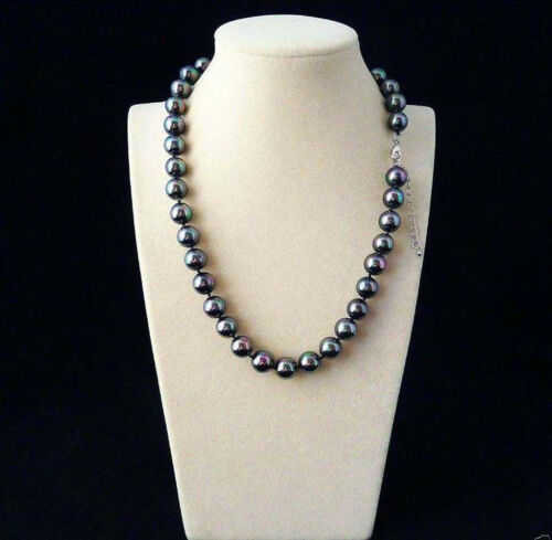 Genuine 10mm Rainbow Black South Sea Shell Pearl Round Beads Necklace 18/'/'