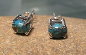 Sterling-silver-everyday-cab-6x5mm-COPPER-TURQUOISE-STUD-earrings-Gift-bag