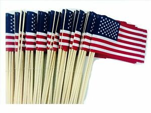 500-4X6 INCH US AMERICAN HAND HELD STICK FLAGS WHOLESALE MADE IN USA LOT OF