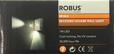 Onbaatzuchtig Robus Rr1wls Recessed Square Ip20 1w Blue Led Brushed Aluminium Wall Light