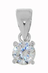 Dolly-Bijoux Femme Pendentif Rhodié Rond 5mm Diamant Cz Argent Massif 925