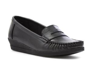 Softlites-Ladies-UK-7-Black-Faux-Leather-Low-Wedge-Penny-Loafer-Moccasin-Shoes