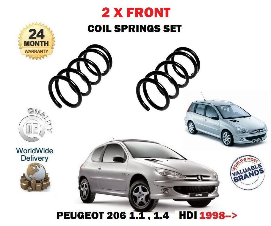 For Peugeot 206 1.1 1.4 Eco HDI 8v 1998  2 x Front Coil Springs Kit