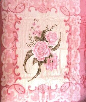 Vivalon Pink Roses BM127 Korean Mink Super Soft King Size Blanket By Solaron