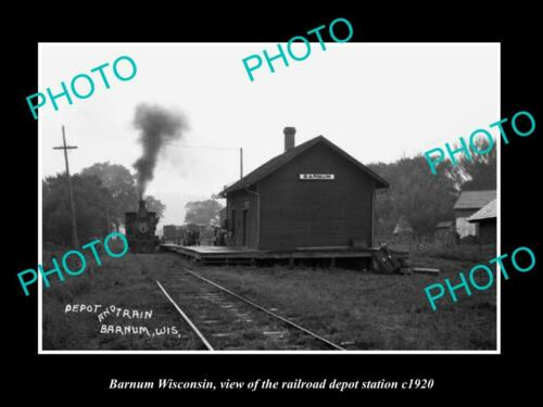 OLD 6 X 4 HISTORIC PHOTO OF BARNUM WISCONSIN, THE RAILROAD DEPOT STATION c1920