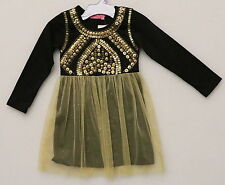 HAVEN GIRL GIRL'S KIDS SIZE 4 BLACK & GOLD $75 PARTY DRESS LONG SLEEVED NEW