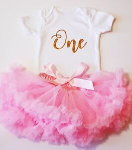 1st Birthday Outfit Baby Girls Frilly Tutu Dress Skirt Cake Smash