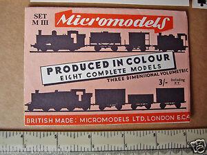 1954 Vintage Original Micromodels Set MIII (M3) Locos & Wagons (8 models) 3/-