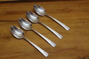 4 Wm Rogers IS Sectional Louisiane Pattern Silverplate Flatware Teaspoons