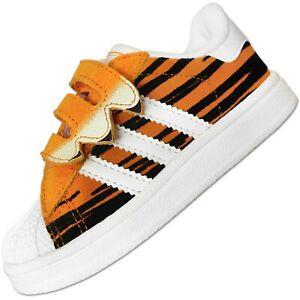 Détails sur Adidas Originals Superstar Tigre Cf Enfants Chaussures de Sport Cuir Orange