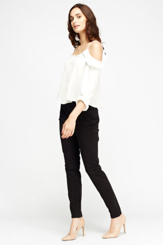 Women/'s Teal Blue White Black Straight Leg Trousers Tapered Stretch Pants jeans