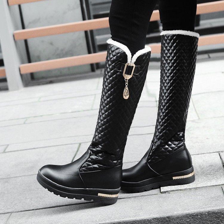 botas Nieve Invierno Cálido Mujer Tacón Oculto la Rodilla botas Altas Plataforma Tirar De Zapato Q