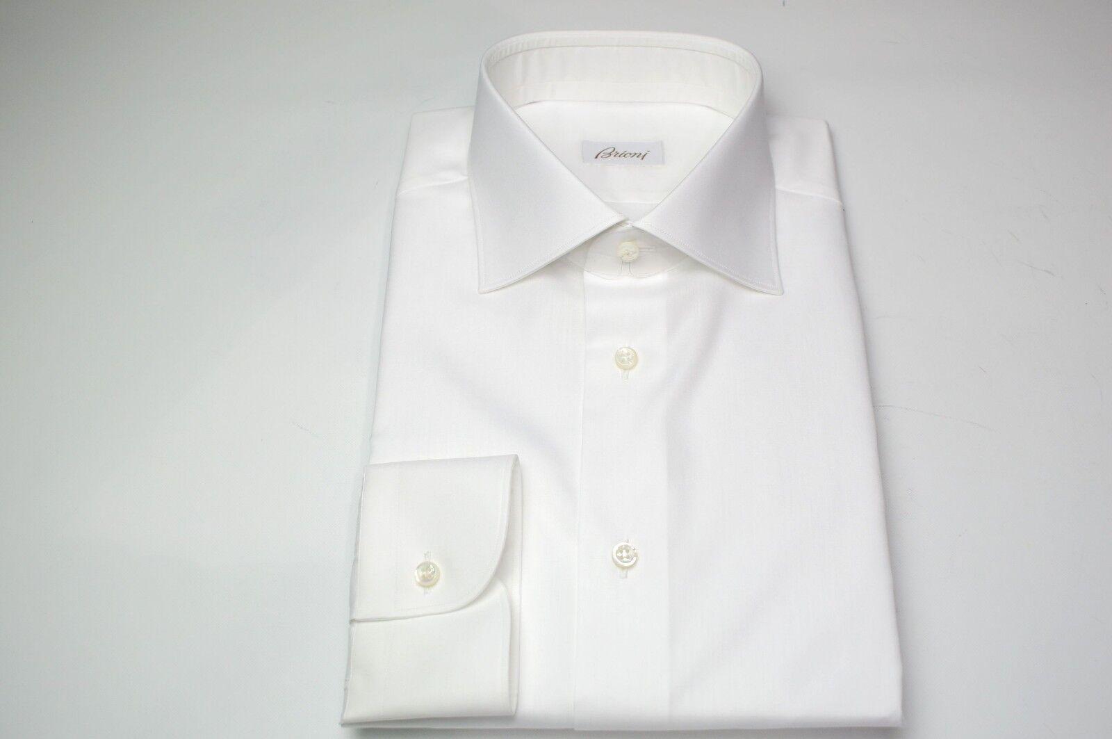 NEW BRIONI Weiß Dress hemd 100% baumwolle Größe 15.75 Us 40 Eu  (MA54)