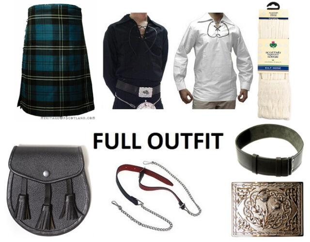 8 Yard Scottish Kilt Package Complete Standard Casual Outfit, Ramsay Blue Tartan