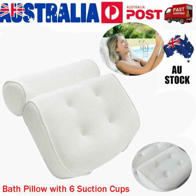 Breathable 3D Mesh Spa Bath Pillow with 6 Suction Cups Neck & Back Support White