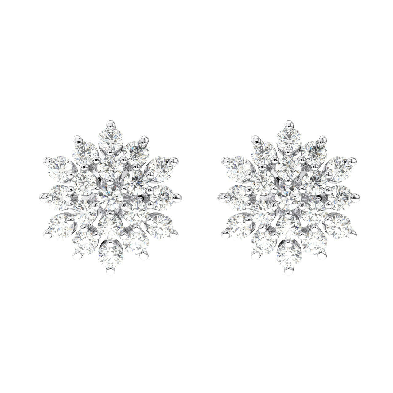 0.50 Carat Round Brilliant Cut Diamonds Cluster Studs Earring in 18K gold