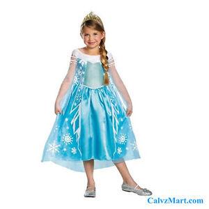 Disguise-Disney-Frozen-Elsa-Deluxe-Girl-Costume-Dress-4-6X-w-Tiara-56998L