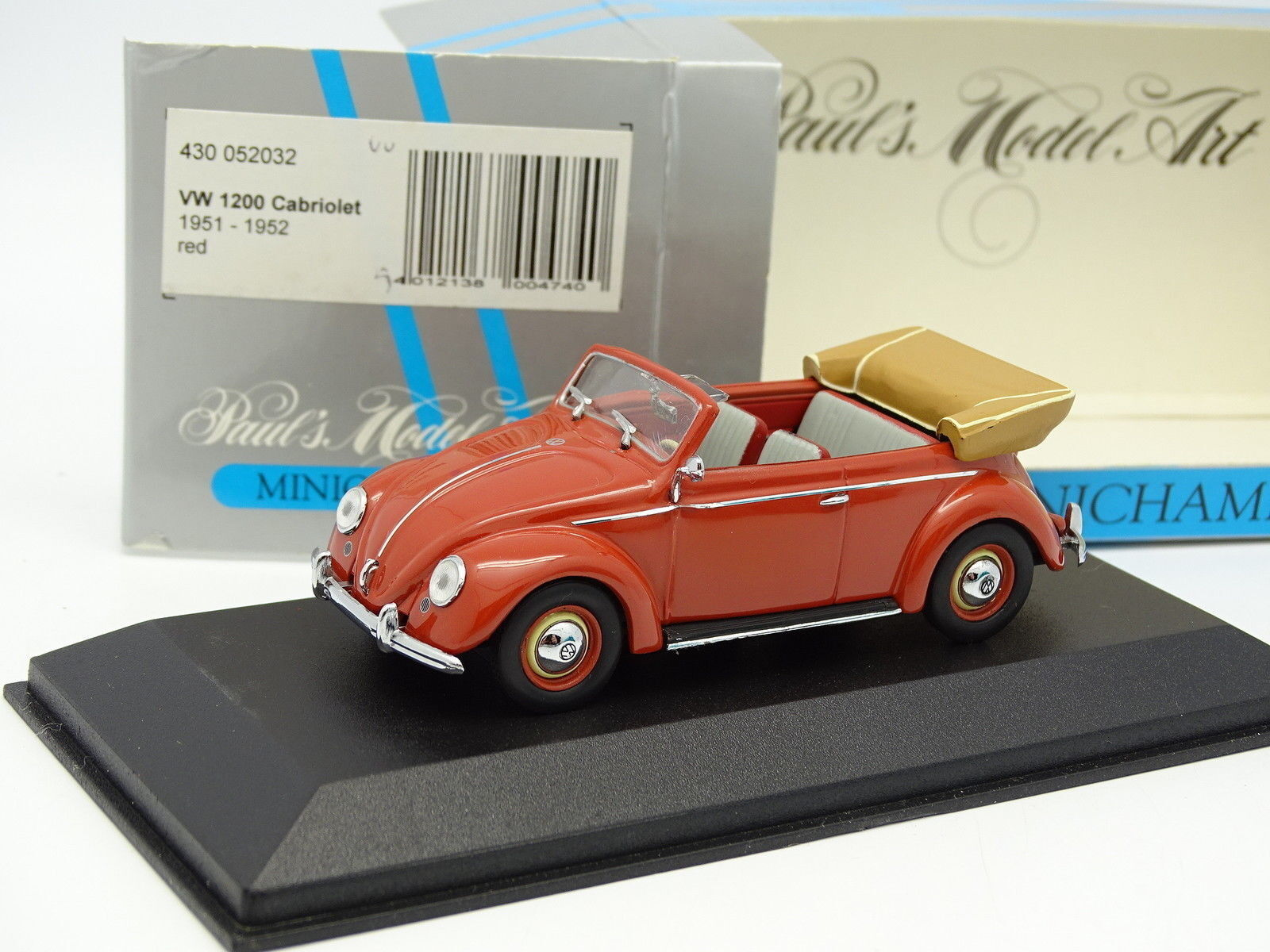 Minichamps 1 43 - vw beetle 1200 cabriolet 1951 red