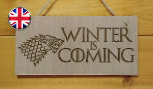 Game of Thrones themed.Engraved Plaque sign.GOT TV show love WINTER IS COMING