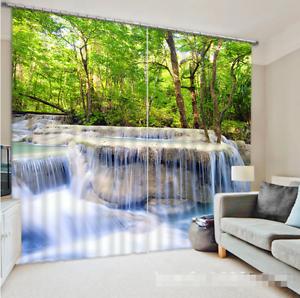 3D Forest River 0261 Cortinas de impresión de Cortina Blockout Foto Tela Cortinas Ventana Reino Unido