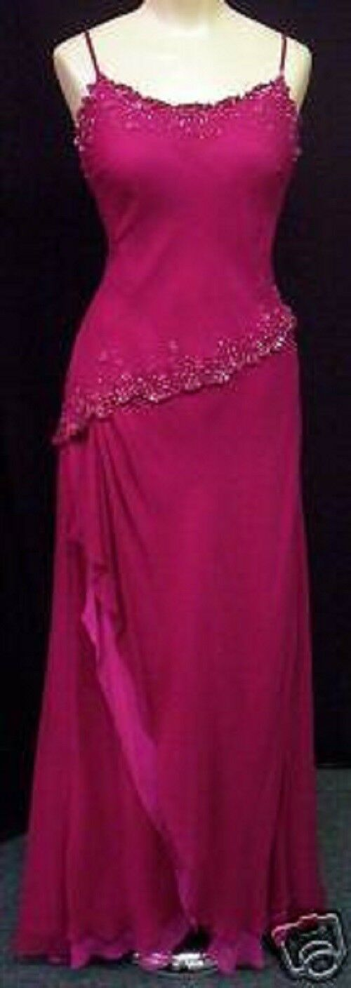 SHALA RASPBERRY HOT PINK 100% SILK SPAGHETTI STRAP FORMAL GOWN DRESS Size 15 16