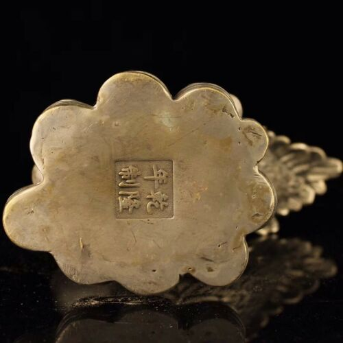 Details about  /Chinese White copper hand-made wealth Ingots cock Home decoration Qianlong Year