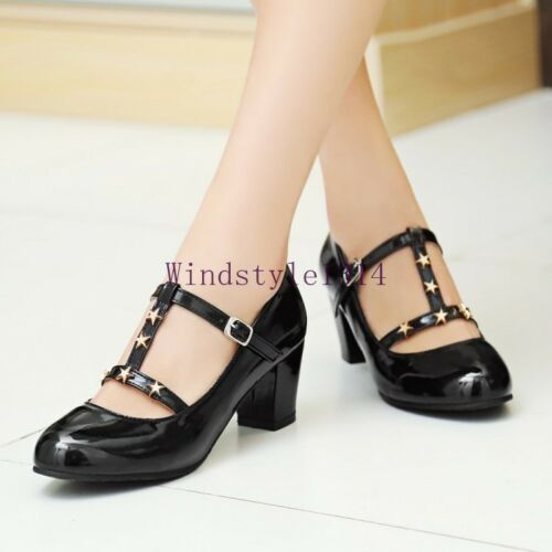 Women/'s Pointed Toe Patent Leather Block Heels Rivet Buckle Straps Shoes Size 13