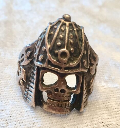 Vintage GOTH Knight Motorcycle BIKER RING Skull He