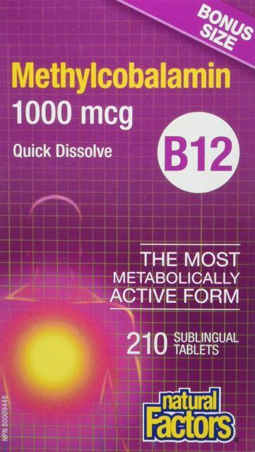 BONUS SIZE Vitamin B12 Methylcobalamin 1000 mcg quick dissolve - Natural Factors