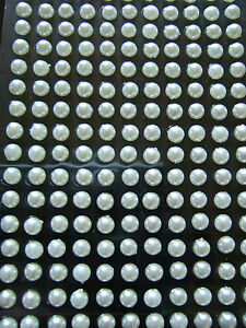100-x-3mm-White-Tiny-Pearls-Self-Adhesive-Stickers-Body-Art-Invites-Nails-Face