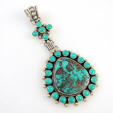 Large Navajo Handmade Sterling Silver & Turquoise Pendant GENEVA APACHITO │RS