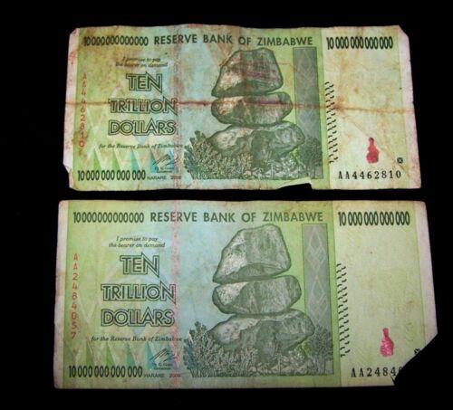 DAMAGED CONDITION 2 pcs x Zimbabwe 10 Trillion Dollar banknotes-2008//AA