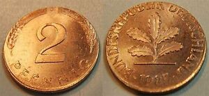 2 Pfennig 1985J Lack Coinage: On Abartiger Auslandsronde Embossed Mint State