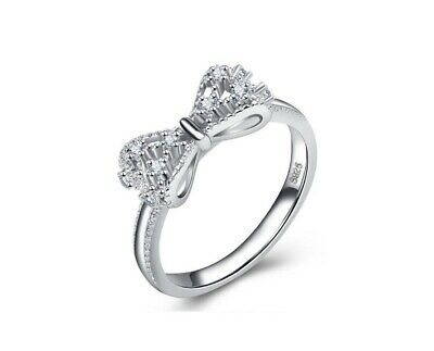 925 Sterling Silver Pave Cubic Zirconia Promise Engagement Solitaire Ring RS25