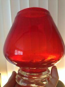 VINTAGE-MID-CENTURY-MODERN-MURANO-ITALIAN-HAND-BLOWN-ART-GLASS-RED-VASE-6-034-TALL