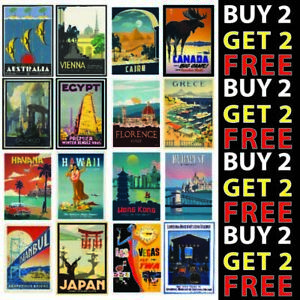 Vintage Retro Travel Holiday Posters A4 A3 300gsm High Quality Gloss
