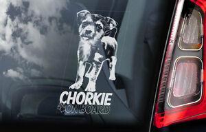 Chorkie-a-Bordo-Coche-Ventana-Pegatina-Hibrido-Perro-Signo-Regalo-Forma