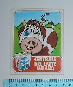 ADESIVO-VINTAGE-STICKER-CENTRALE-LATTE-MILANO-ANNI-039-80-8x10-cm-BELLO-E-RARO